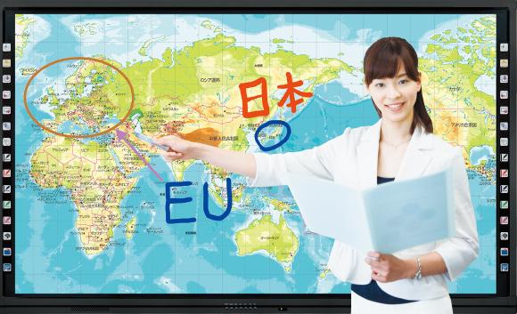 地図を指し示す女性